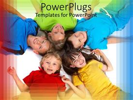 PowerPlugs: PowerPoint template with five smiling children lying in circle with heads at center