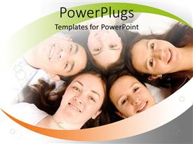 PowerPlugs: PowerPoint template with five smiling humans with their heads together in a lying posture