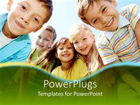 PowerPoint template displaying five smiling kids, three girls framed by two boys with happy smiling faces