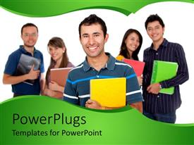 PowerPlugs: PowerPoint template with five students holding colorful big notebooks in hands, one boy student in front of two girls and two boys students faded in the background