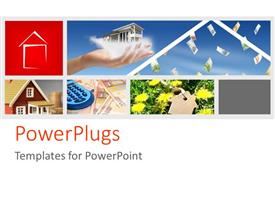 PowerPlugs: PowerPoint template with five tiles of houses and flowers and a hand