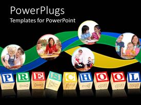 PowerPlugs: PowerPoint template with five tiles with parents and children with some colorful texts