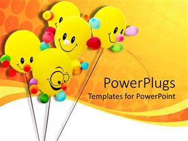 PowerPoint template displaying five yellow colored smiley ballons on an orange background