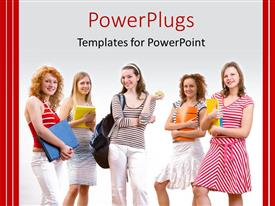 PowerPoint template displaying five young female students standing on a white background