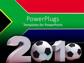 PowerPoint template displaying flag of South Africa in background with 3D year 2010