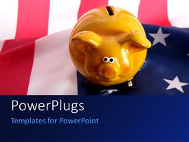 PowerPlugs: PowerPoint template with a piggy bank with an American flag in the background
