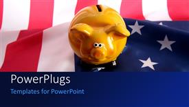 PowerPoint template displaying a piggy bank with an American flag in the background