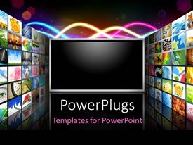 PowerPlugs: PowerPoint template with flat screen television surrounded with different wallpapers