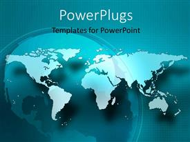 PowerPoint template displaying a flat world map on a blue colored background