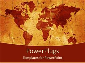 PowerPlugs: PowerPoint template with flat world map with cracks, brown and orange background