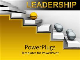 PowerPlugs: PowerPoint template with flight of stairs with gold and silver balls rolling up it
