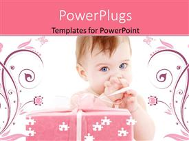 PowerPlugs: PowerPoint template with floral background with baby playing with puzzle pieces and pink gift box