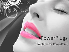 PowerPlugs: PowerPoint template with floral background with close-up of woman with eyes closed and pink lipstick