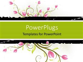 PowerPoint template displaying a floral background with a place for text