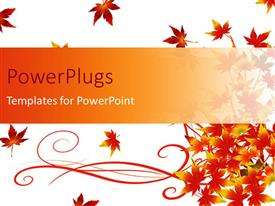PowerPlugs: PowerPoint template with floral background with red autumn leaves on white surface