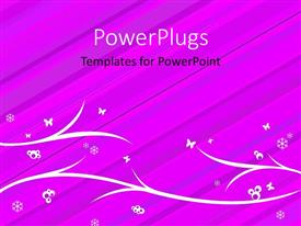 PowerPlugs: PowerPoint template with floral background with snow flakes on background of pink with diagonal lines