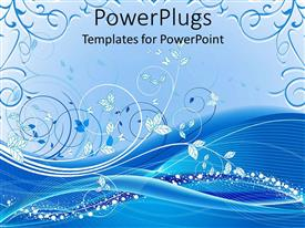 PowerPlugs: PowerPoint template with floral background with white and different shades of blue