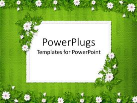 PowerPlugs: PowerPoint template with floral pattern with white little flowers on green patterned background