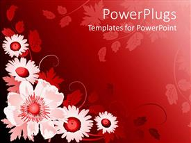 PowerPlugs: PowerPoint template with floral pattern with white and red flowers in red background