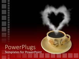 PowerPlugs: PowerPoint template with floral tea cup and saucer with steam in heart shape