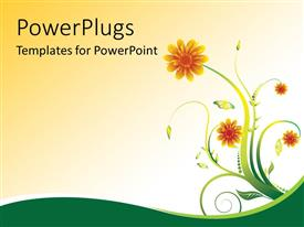 PowerPoint template displaying floral vector design with blooming flowers
