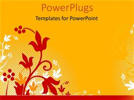 PowerPlugs: PowerPoint template with a floral view with orange background