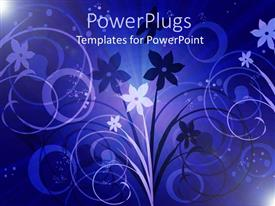 PowerPoint template displaying a floral view with purple background