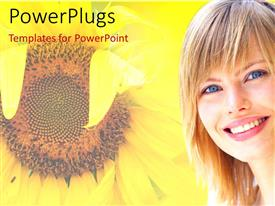 PowerPlugs: PowerPoint template with flourishing sunflower in summer with beautiful lady smiling on
