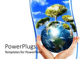PowerPlugs: PowerPoint template with flourishing trees growing out of globe carefully placed in human hand