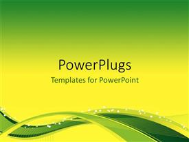PowerPoint template displaying flow Background with yellow-green waves and blend effects