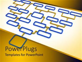 PowerPlugs: PowerPoint template with flow chart schematic diagram in blue and orage color