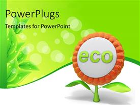 PowerPlugs: PowerPoint template with flower ecology icon with green leaves