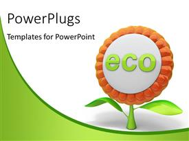 PowerPlugs: PowerPoint template with flower ecology icon with white and green color