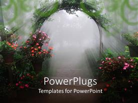 PowerPoint template displaying flowering vine archway, potted plants, sunshine