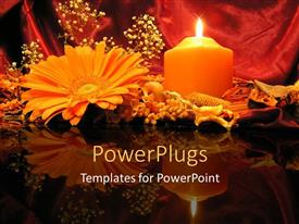 PowerPlugs: PowerPoint template with flowers and burning pillar candle on reflective table top
