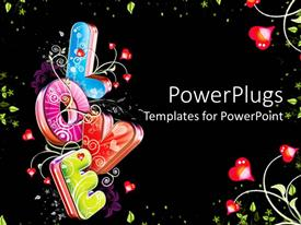 PowerPlugs: PowerPoint template with flowery multicolored word love with floral and hearts background