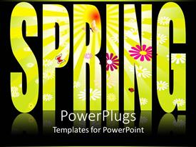 PowerPlugs: PowerPoint template with flowery spring text on black background