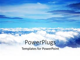 PowerPlugs: PowerPoint template with fluffy white clouds against blue sky background