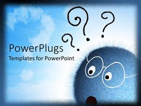 PowerPlugs: PowerPoint template with flurry bubble with funny scared face wearing eyeglasses with three black graphic question marks above head
