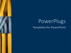 PowerPoint template displaying fluted columns with blue background, education, finance, architecture