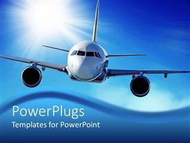 PowerPlugs: PowerPoint template with flying airplane in the sky with sun in the background