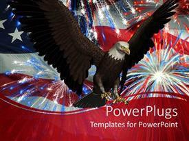 PowerPoint template displaying flying bald eagle in front of an American flag with fireworks