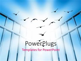 PowerPlugs: PowerPoint template with flying birds depicting freedom with sky in the background