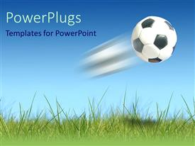 PowerPlugs: PowerPoint template with a Flying football over the green land