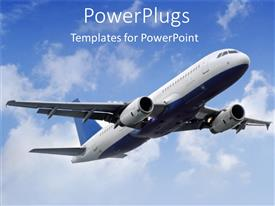 PowerPlugs: PowerPoint template with flying plane in the sky with white clouds, flying airplane