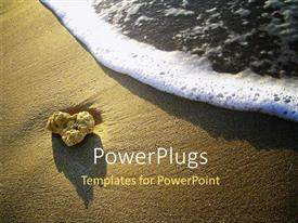 PowerPlugs: PowerPoint template with foamy ocean wave approaching sandstone pebble on beach sand