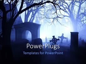 PowerPlugs: PowerPoint template with foggy cemetery with leaning grave markers and trees