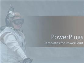PowerPlugs: PowerPoint template with foggy depiction of aircraft direction service woman on gray background