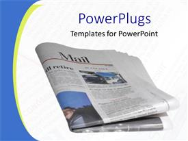 PowerPlugs: PowerPoint template with folded newspaper on faded newsprint background, blue and yellow border