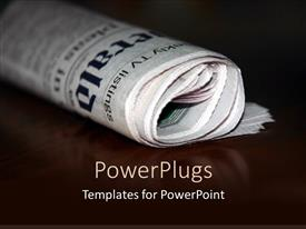 PowerPlugs: PowerPoint template with a folded newspaper with its reflection in the background